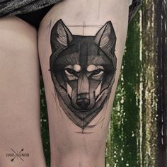 My wolfpack is bigger again #cykada #tattoo #thigh #wolf #bg #blackonly