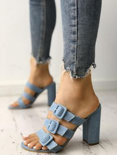 Shop Multi-Strap Buckled Chunky Heeled Sandals right now, get great deals at Chiquedoll Ankle Strap Heels, Ankle Straps, Pumps Heels, Heeled Sandals, Shoes Sandals, Denim Sandals, Chunky Sandals, Denim Shoes, Stiletto Pumps