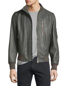 BURBERRY Leather Bomber Jacket, Dark Steel. #burberry #cloth #