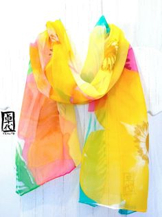 Hand Painted Silk Scarf. Spring Garden Flowers Scarf. Yellow Silk Scarf. Silk Chiffon Scarf. Spring Fashion.10x54 in. Made to order.
