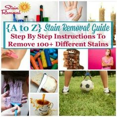 A to Z stain removal guide: Step by step instructions to remove different stains Deep Cleaning Tips, House Cleaning Tips, Cleaning Solutions, Spring Cleaning, Cleaning Hacks, Cleaning Recipes, Green Cleaning, Cleaning Products, All You Need Is