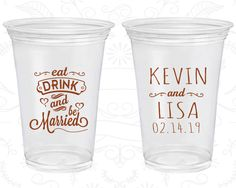 Sip Ay Wedding Promotional Clear Plastic Cups Our Special Day Heart Soft 37 And