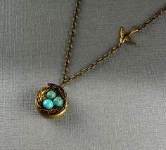 Robin's nest bronze locket