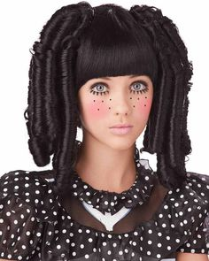 Black Baby Doll Curls with Bangs Wig