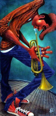 Mr Brass Canvas Art - David Garibaldi x David Garibaldi, African Art Paintings, Black Art Pictures, Jazz Art, Hip Hop Art, Jazz Musicians, African American Art, My Black Is Beautiful, Dope Art
