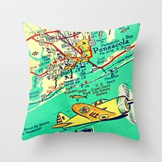 Map Pillow  Pensacola  Beach House  Decorative by VintageBeachMaps