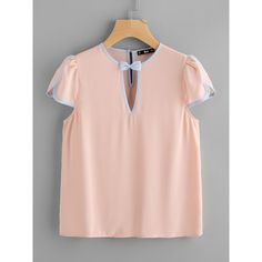 SheIn(sheinside) Contrast Binding Bow Embellished Keyhole Top (220 CZK) ❤ liked on Polyvore featuring tops, pink, collar top, chiffon bow top, pink embellished top, keyhole sleeve top and embellished v neck top