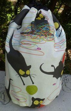 Cat knitting project bag,  drawstring bag, WIP bag, happy kitty, Suebee on Etsy, $17.95