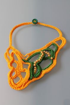 Yellow Green Freeform Crochet Necklace.  via Etsy.