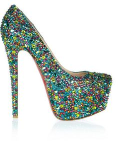 Christian Louboutin Daffodile crystal-embellished leather pumps - glitz all over is the way to go!