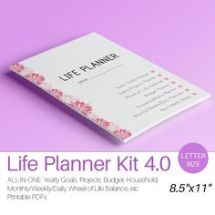 LIFE PLANNER Printable Letter Size Filofax Inserts Daily Weekly Monthly Project Menu Budget Yearly goals. Instant Download. 63 pages