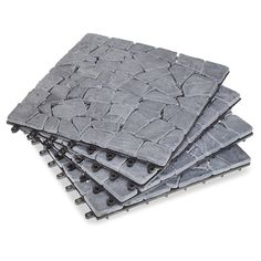 Split Gray Stone Deck Tiles   Box Of 10