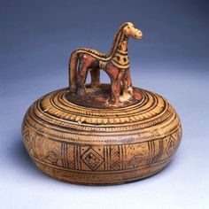 Greek, Attic, Late Geometric Horse pyxis, ca. 725 – 700 B.C.