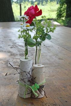 Birkenholz, ein Reagenzglas und eine blühende Sommerblume: Fertig ist eine abwe… Birch wood, a test tube and a blooming summer flower: Done is a varied table decoration that costs neither much nor much time. Spring Decoration, Decoration Christmas, Decoration Table, Charred Wood, Deco Floral, Wood Creations, Summer Flowers, Glass Table, Decorating Blogs