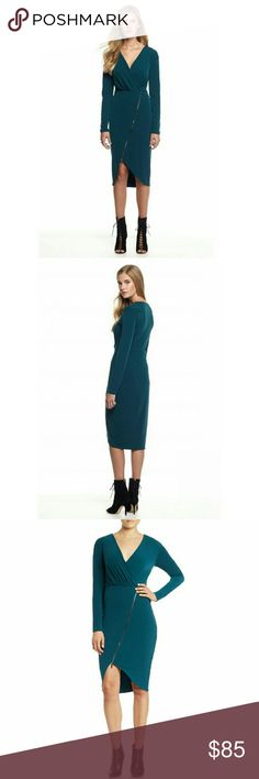 New! RACHEL Rachel Roy Zipper Jersey Sheath Dress A front asymmetrical zip closure and wraparound look give this dress a stunning style. Wear it to your next social party for an eye-catching look.  * Brand New With Tags  * Color: Dark Teal  * Asymmetrical zip closure at front skirt * Surplice V-neckline * Long sleeves. Fitted silhouette * Solid matte jersey * Polyester/elastane. Dry clean * Retails for $125 RACHEL Rachel Roy Dresses