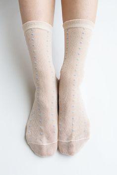 Women New Hezwagarcia Japanese Collection 100% Nylon Super Cozy Cute Dots Sheer Sheen Ruffle Elegant Ankle Socks Stocking Hosiery in Peach