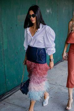 Street Style Fashion Week, Street Style New York, Look Street Style, Fashion Mode, Skirt Fashion, Fashion Outfits, Fashion Tips, Fashion Trends, Fashion Styles