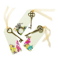 Alice im Wunderland Dekor ~ Hutmacher Teeparty ~ begünstigt ~ Vintage Schlüssel ~ Hochzeit Gefälligkeiten ~ Tischkarten ~ ISS mich ~ Fantasy ~ Vintage-Stil
