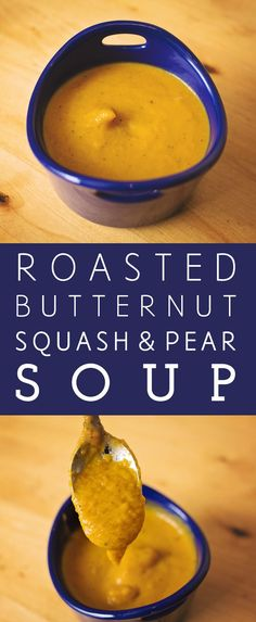 Freezer-friendly homemade roasted butternut squash and pear soup recipe to warm you up this season. Pureed smooth - no chunks! Coffe Recipes, Pear Recipes, Healthy Soup Recipes, Chili Recipes, Drink Recipes, Surimi Recipes, Endive Recipes, Radish Recipes, Gnocchi Recipes