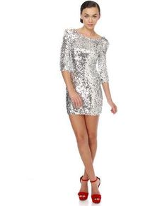 silver sequin dress with a red shoe HOTTT!!!!
