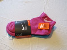 Girl's youth kids Nike 3 pack Low Cut 3Y-5Y S pink purple blu sx4727-964 socks*^ #Nike #lowcut