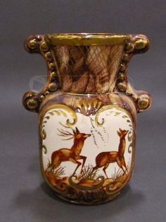 Vintage Belgium Made Pottery Vase/Urn With Deer