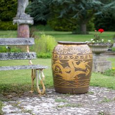 Dragon Pot Planter - The traditional Chinese dragon pot has long been a part of the contemporary and traditional oriental garden. For a garden or conservatory this is a perfect planter for bamboo, tropical palms or climbing plants. http://www.orchidfurniture.co.uk/dragon-pot-with-dragon-decoration-chinese-stone-suitable-outdoor-use