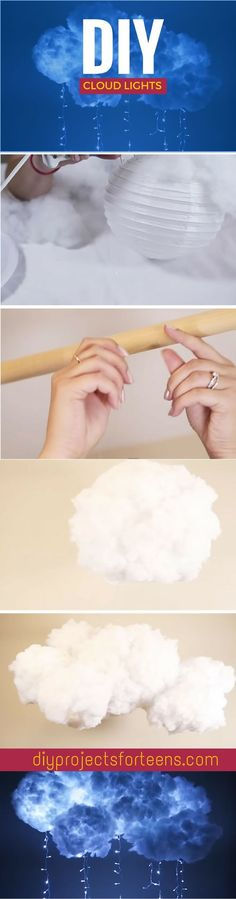 How To Make DIY Cloud Lights Want to make cool DIY room decor? This fun and easy DIY idea is a cool project for teens to make with string lights and a couple of paper lanterns –… Want to make cool DIY room decor? This fun and easy DIY ide Cool Diy Projects, Diy Projects For Teens, Diy For Teens, Crafts For Teens, Fun Crafts, Diy And Crafts, Kids Diy, School Projects, Diy Cloud Light