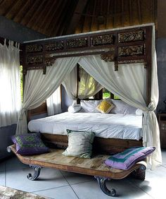 A opium bed airily dressed in a simple white canopy with curtains tied back to the bedposts establishes the South Pacific style of jewelry designer Carolyn Tyler. Furniture, Beautiful Bedrooms, Home, Home Bedroom, Canopy Bed, Bed, White Canopy, Bedroom Styles, Asian Home Decor