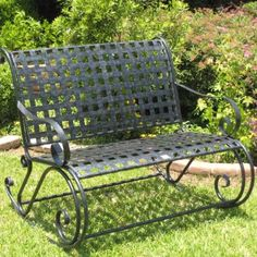 This elegant lattice iron garden bench will add beauty and a comfortable sitting area to your garden, patio, or backyard. The double rocker is made of sturdy iron and measures a generous 38 inches high x 44 inches wide x 40 inches deep. Double Rocking Chair, Rocking Bench, Patio Rocking Chairs, Lounge Chairs, Wrought Iron Bench, Wrought Iron Patio Chairs, Heavy Duty Beach Chairs, Patio Bench, Outdoor Benches