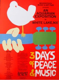 "A vintage poster from the Woodstock music festival - Woodstock 40 years on: The legend, the legacy We weren""t there but. We were married on Woodstock week-end. 1969 Woodstock, Festival Woodstock, Woodstock Poster, Woodstock Music, Woodstock Concert, Woodstock Lineup, Woodstock Photos, Rock Posters, Art Posters"