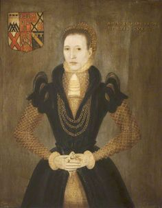 ca. 1571 Ann Danby (b.1534), Lady Calverley, Aged 37 by ? Lady Ann wears a simple farthingale with French sleeves and a cloth of gold under bodice and over-skirt in this 1571 portrait. The diamond-shaped lattice on the partlet, under-bodice, and under-skirt match. (Wallington Hall - Wallington, Northumberland UK)   Grand Ladies   gogm