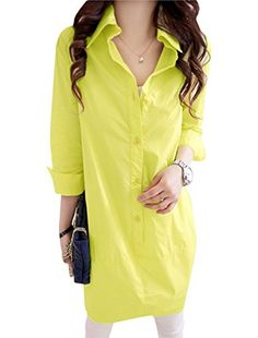 Lady Point Collar 34 Sleeve Button Up Tunic Shirt Lime Yellow XS * Read more  at the image link. (This is an affiliate link and I receive a commission for the sales)