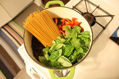 """One pot pasta dish: """"This recipe is pretty great, and as easy as the name implies. Just cut up whatever you want, put it all in the pot, and cook until the noodles are ready!"""""""
