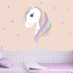 1.69AUD - Lovely Unicorn & Stars Wall Stickers Decoration Vinyl Decals Art Room Home #ebay #Home & Garden