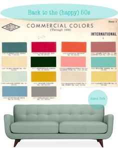 PALLETTE: Here is a TRULY retro pallette from the era. I like the sofa color for our architectural tower DR Mid Century House, Mid Century Style, Mid Century Modern Design, Mid Century Modern Colors, Mid Century Modern Sofa, Design Set, Home Design, Vintage Design, Vintage Colors