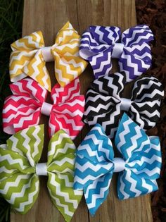 Chevron Hair Bow Set of 6 by DarlingDelilah777 on Etsy, $16.00