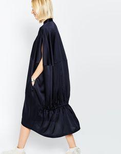 Image 2 ofASOS WHITE Oversized Cape Back Shirt Dress
