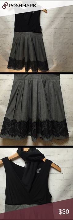 """🆕 Mr. Gray & Lace Dress Mr. Grey """"Will See You Now"""" in this little number...ok the movie is out, I had to use that line! Cute little black and gray mix. The V neck flows right into a pleated lace trimmed bottom skirt! Where it anywhere for any occasion! twenty one Dresses"""