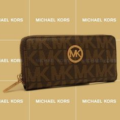 Wish You Have A Haapy Time On Our Michael Kors Logo Signature Large Coffee Wallets Store!