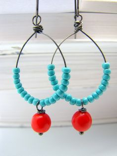 Wire earrings. Used these as inspiration for a pair to match my bone and orange buddha necklace.