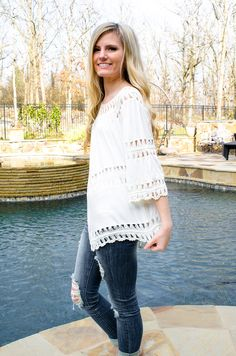 Boho Babe Crochet Top Ivory Ripped Skinny Jeans - Forever Fab Boutique Spring Trends Spring Fashion OOTD Outfit Inspiration #shop #fashion #spring