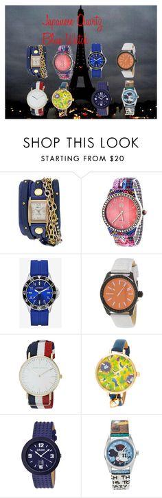 """Japanese Quartz Blue Watch"" by jennifergfranklin ❤ liked on Polyvore featuring La Mer, Express, Diesel, Laura Ashley, Crayo, Disney, women's clothing, women, female and woman"