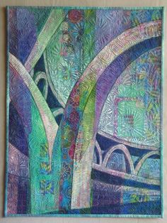Hong Kong Arches by Linda Cline at SAQA.  Olive Hyde Art Gallery Show in Fremont (California)