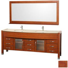 Shop Wyndham Collection 78 In Cherry Daytona Double Sink Bathroom Vanity  With Top At Lowes