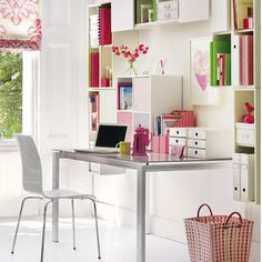 Set up a bright modern studio    Pick versatile units - here, some have been turned sideways and had their doors removed for open storage. Keep your furniture simple and add colour with accessories for a bright modern look. Customise shelves to your needs - high ones for files, or lower one for boxes and jars.    Try Tesco Direct for a chair and table like this, and find wall units like these at IKEA. Try John Lewis for a floor basket like this one.