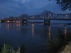 Murray Baker Bridge in Peoria, Illinois, at dusk