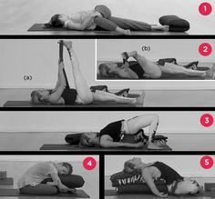 Yoga Stretches for better sleep :)  (Women's Health Magazine)  1. Reclined Spinal Twist  2. Reclined Big Toe Pose A + B  3. Supported Bridge Pose  4. Double Pigeon  5. Reclined Bound Angle