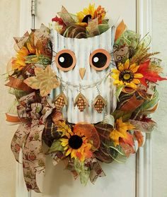 Owl Wreath, Fall Owl Wreath, Fall Wreath, Thanksgiving Wreath Owl Decor, Fall…