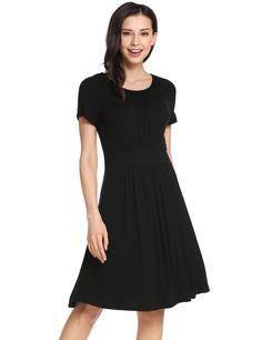 Black O-Neck Short Sleeve A-Line Pleated Hem Elastic Pullover Casual Dress